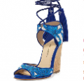 Bergdorf Goodman: Paul Andrew Tianjin Embroidered Tassel Wedge Sandal, Sky/Natural For $795