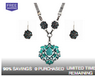 LivingSocial: Druzy Crystal Turquoise Necklace Set $14.99