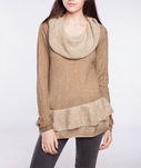 Point Zero: Cowl Neck Sweater With Ruffle $69