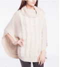 Point Zero: Cowl Neck Poncho With Fur Trimming $95