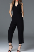 Dezzal: OSERJEP Sleeveless Pure Color Pencil Jumpsuit