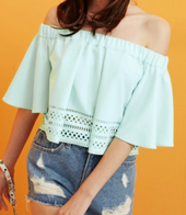 Dezzal: Off The Shoulder Flounced Loose-Fitting T-Shirt