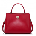 Dezzal: NUCELLE Metallic Hasp Leather Handbag