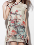Dezzal: IYECHO:Floral Slit See Thru Dress