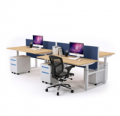 JasonL Office Furniture: Sit-Stand-4 Person Workstation Electric Height Adjustable Stand-up