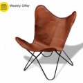 VidaXL: 32% Off Real Leather Butterfly Chair Vintage Retro